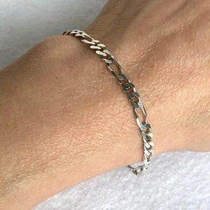 "Figaro Sterling Silver Bracelet 4mm 8"" Italy 925"